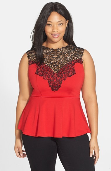 'lace Love' Top (Plus Size) - sleeve style: sleeveless; predominant colour: coral; secondary colour: black; occasions: evening; length: standard; style: top; fibres: viscose/rayon - stretch; fit: tailored/fitted; neckline: crew; sleeve length: sleeveless; pattern type: fabric; pattern size: standard; pattern: colourblock; texture group: jersey - stretchy/drapey; embellishment: lace; shoulder detail: sheer at shoulder; season: s/s 2015; wardrobe: event