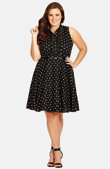 'spotty Dotty' Dress (Plus Size) - style: shirt; neckline: shirt collar/peter pan/zip with opening; sleeve style: sleeveless; pattern: polka dot; waist detail: belted waist/tie at waist/drawstring; secondary colour: white; predominant colour: black; occasions: casual, evening, creative work; length: just above the knee; fit: fitted at waist & bust; fibres: cotton - stretch; hip detail: soft pleats at hip/draping at hip/flared at hip; sleeve length: sleeveless; bust detail: tiers/frills/bulky drapes/pleats; pattern type: fabric; pattern size: light/subtle; texture group: jersey - stretchy/drapey; season: s/s 2015; wardrobe: highlight