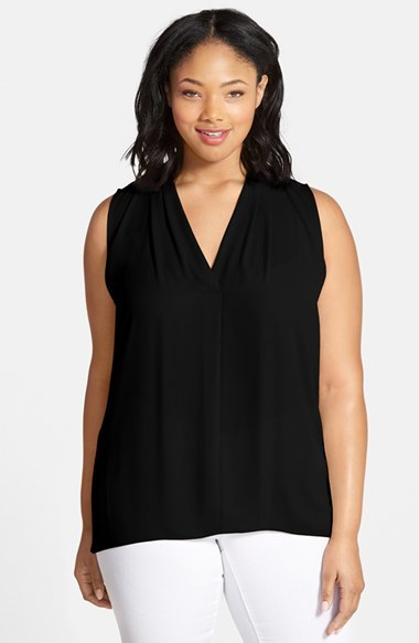 Pleat Front V Neck Sleeveless Blouse (Plus Size) - neckline: v-neck; pattern: plain; sleeve style: sleeveless; style: blouse; predominant colour: black; occasions: casual, evening; length: standard; fibres: polyester/polyamide - 100%; fit: loose; back detail: keyhole/peephole detail at back; sleeve length: sleeveless; texture group: crepes; pattern type: fabric; season: s/s 2015; wardrobe: basic