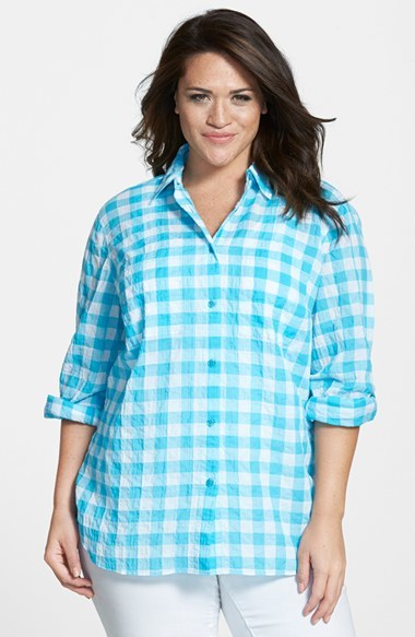 Roll Sleeve Check Plaid Shirt (Plus Size) - neckline: shirt collar/peter pan/zip with opening; pattern: checked/gingham; length: below the bottom; style: shirt; secondary colour: white; predominant colour: turquoise; occasions: casual; fibres: cotton - stretch; fit: loose; sleeve length: long sleeve; sleeve style: standard; texture group: cotton feel fabrics; pattern type: fabric; pattern size: standard; season: s/s 2015