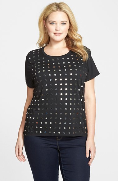 Mirror Studded Jersey Tee (Plus Size) - neckline: round neck; pattern: plain; style: t-shirt; secondary colour: silver; predominant colour: black; occasions: casual, evening; length: standard; fibres: cotton - mix; fit: body skimming; sleeve length: short sleeve; sleeve style: standard; pattern type: fabric; texture group: jersey - stretchy/drapey; embellishment: studs; season: s/s 2015