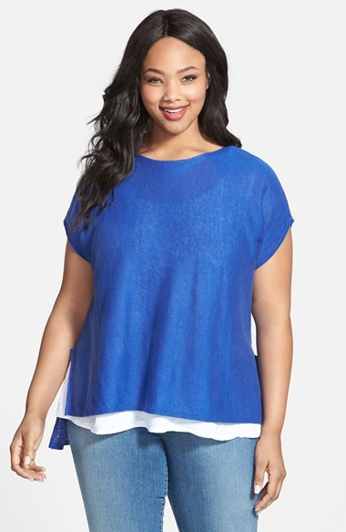 Organic Linen Boatneck Boxy Top (Plus Size) - neckline: round neck; sleeve style: dolman/batwing; pattern: plain; length: below the bottom; style: t-shirt; predominant colour: diva blue; occasions: casual; fibres: linen - 100%; fit: loose; sleeve length: short sleeve; pattern type: knitted - fine stitch; texture group: other - light to midweight; season: s/s 2015; wardrobe: highlight
