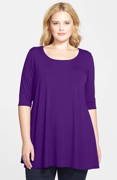Scoop Neck Jersey Tunic (Plus Size) - neckline: round neck; pattern: plain; length: below the bottom; style: tunic; predominant colour: purple; occasions: casual; fibres: viscose/rayon - stretch; fit: loose; sleeve length: 3/4 length; sleeve style: standard; pattern type: fabric; texture group: jersey - stretchy/drapey; season: s/s 2015; wardrobe: highlight