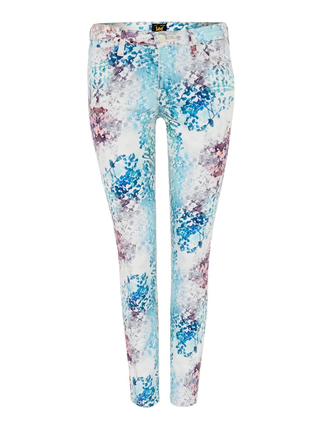 Scarlett Skinny Fit Jean In Spring All Over, Multi Coloured - style: skinny leg; length: standard; pocket detail: traditional 5 pocket; waist: mid/regular rise; predominant colour: ivory/cream; secondary colour: diva blue; occasions: casual, creative work; fibres: cotton - stretch; texture group: denim; pattern type: fabric; pattern: florals; season: s/s 2015; pattern size: standard (bottom); multicoloured: multicoloured; wardrobe: highlight