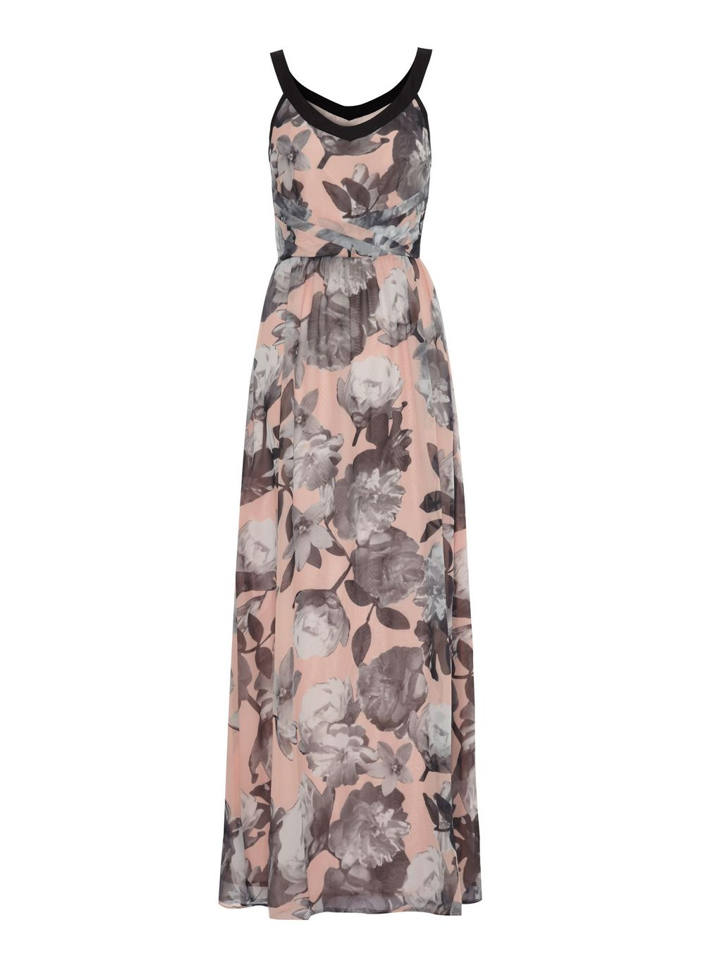 Cherry Blossom Print Maxi Dress, Nude - neckline: low v-neck; fit: fitted at waist; sleeve style: sleeveless; style: maxi dress; predominant colour: blush; secondary colour: mid grey; occasions: evening, occasion; length: floor length; sleeve length: sleeveless; pattern type: fabric; pattern: florals; texture group: woven light midweight; season: s/s 2015; wardrobe: event