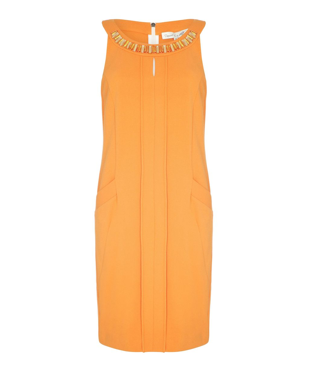 Alloy Dress, Orange - style: tunic; neckline: round neck; pattern: plain; sleeve style: sleeveless; predominant colour: bright orange; occasions: casual, evening; length: just above the knee; fit: body skimming; sleeve length: sleeveless; texture group: crepes; pattern type: fabric; season: s/s 2015; wardrobe: highlight