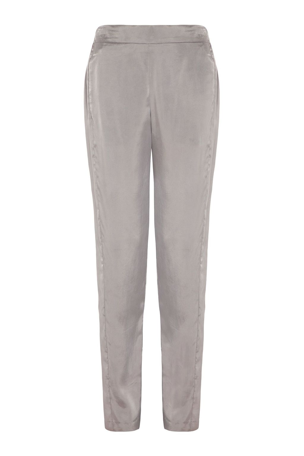 Scala Trousers, Grey - length: standard; pattern: plain; waist: high rise; predominant colour: light grey; occasions: casual, evening, creative work; texture group: structured shiny - satin/tafetta/silk etc.; fit: slim leg; pattern type: fabric; style: standard; season: s/s 2015; wardrobe: basic