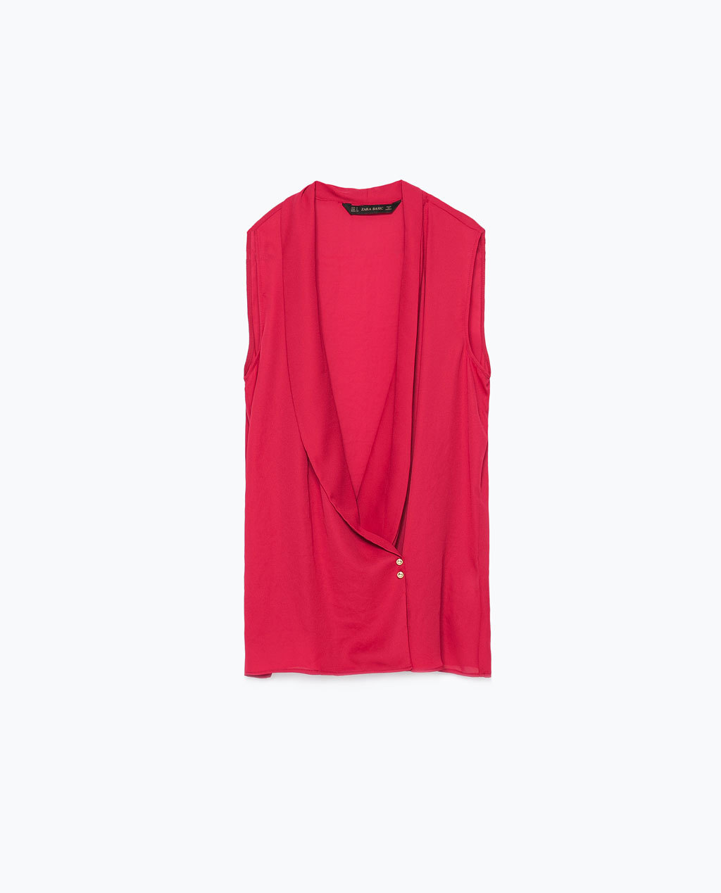 Crossover Top - neckline: low v-neck; pattern: plain; sleeve style: sleeveless; length: below the bottom; predominant colour: hot pink; occasions: casual, evening, creative work; style: top; fibres: polyester/polyamide - 100%; fit: straight cut; sleeve length: sleeveless; texture group: other - light to midweight; secondary colour: raspberry; season: s/s 2015; wardrobe: highlight