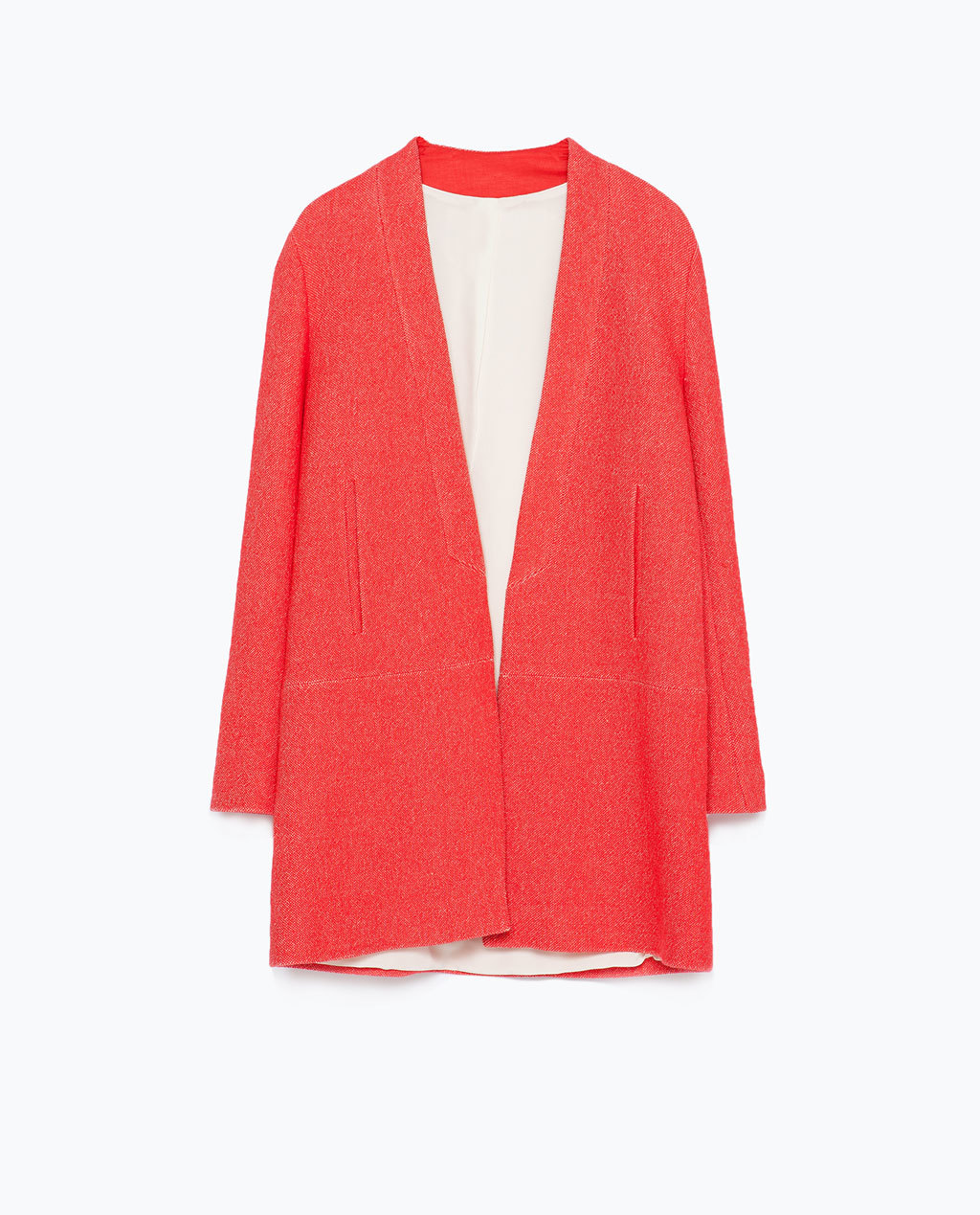 Coat - pattern: plain; collar: round collar/collarless; style: single breasted; length: mid thigh; predominant colour: bright orange; occasions: casual, creative work; fit: straight cut (boxy); fibres: linen - mix; sleeve length: long sleeve; sleeve style: standard; texture group: linen; collar break: low/open; pattern type: fabric; season: s/s 2015; wardrobe: highlight