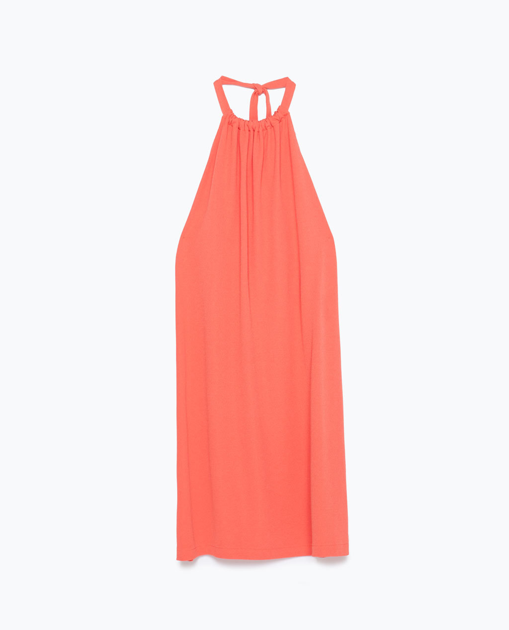 Halterneck Dress - style: shift; length: mid thigh; pattern: plain; sleeve style: sleeveless; neckline: low halter neck; back detail: back revealing; predominant colour: coral; occasions: casual, evening, holiday; fit: straight cut; fibres: polyester/polyamide - 100%; hip detail: subtle/flattering hip detail; sleeve length: sleeveless; pattern type: fabric; texture group: jersey - stretchy/drapey; season: s/s 2015; wardrobe: highlight
