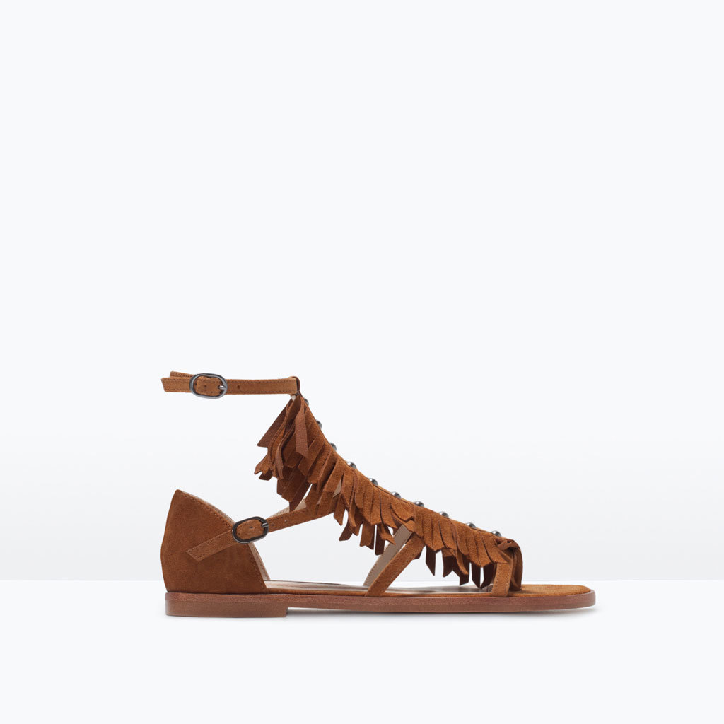 Fringed Flat Leather Sandals - predominant colour: tan; occasions: casual, holiday; material: suede; heel height: flat; ankle detail: ankle strap; heel: standard; toe: open toe/peeptoe; style: standard; finish: plain; pattern: plain; embellishment: fringing; season: s/s 2015