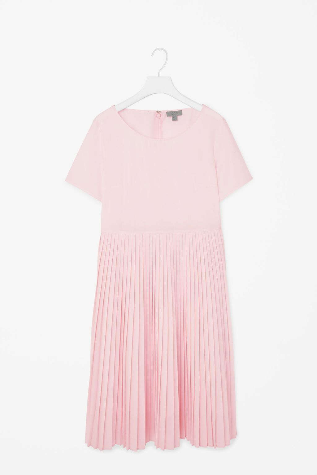 Pleated Poplin Dress - length: mid thigh; neckline: round neck; pattern: plain; predominant colour: blush; occasions: evening, occasion, creative work; fit: fitted at waist & bust; style: fit & flare; fibres: polyester/polyamide - 100%; hip detail: structured pleats at hip; sleeve length: short sleeve; sleeve style: standard; pattern type: fabric; texture group: other - light to midweight; season: s/s 2015