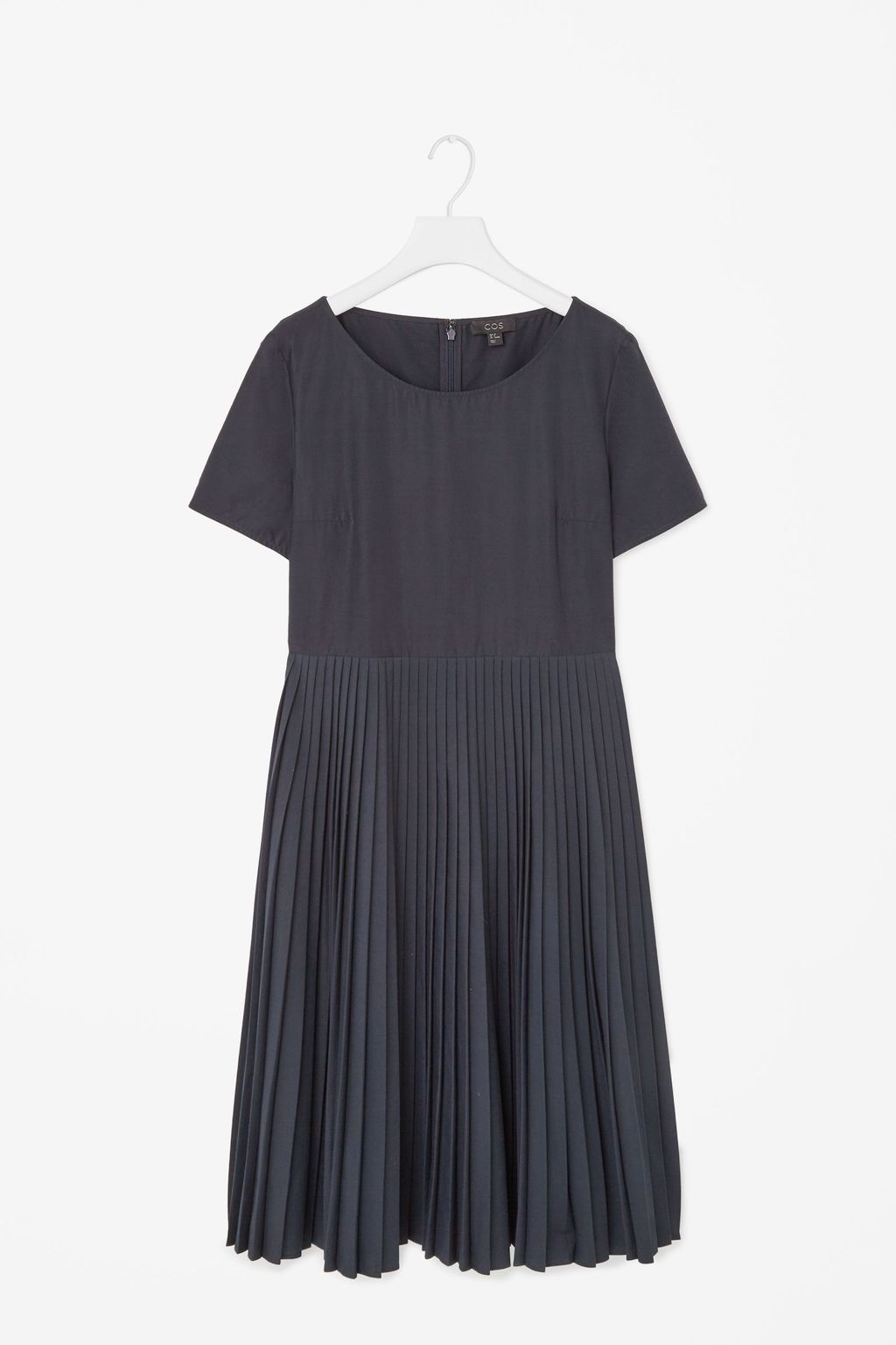 Pleated Poplin Dress - neckline: round neck; pattern: plain; predominant colour: navy; occasions: casual, creative work; length: on the knee; fit: fitted at waist & bust; style: fit & flare; fibres: polyester/polyamide - 100%; hip detail: adds bulk at the hips; sleeve length: short sleeve; sleeve style: standard; pattern type: fabric; texture group: other - light to midweight; season: s/s 2015; wardrobe: basic