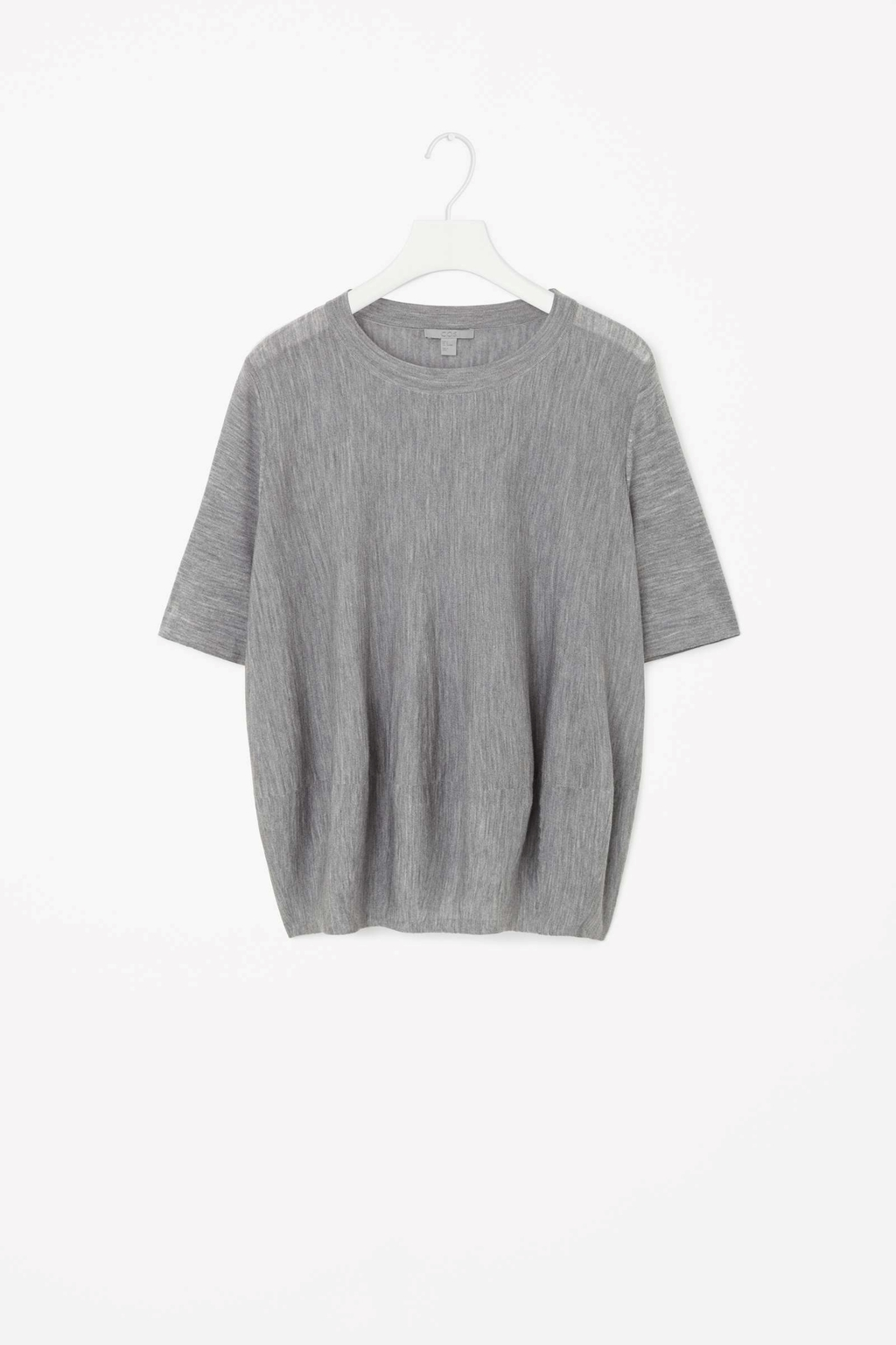 Merino Wool Top - pattern: plain; predominant colour: mid grey; occasions: casual; length: standard; style: top; fibres: wool - 100%; fit: loose; neckline: crew; sleeve length: short sleeve; sleeve style: standard; texture group: knits/crochet; shoulder detail: sheer at shoulder; season: s/s 2015; wardrobe: highlight