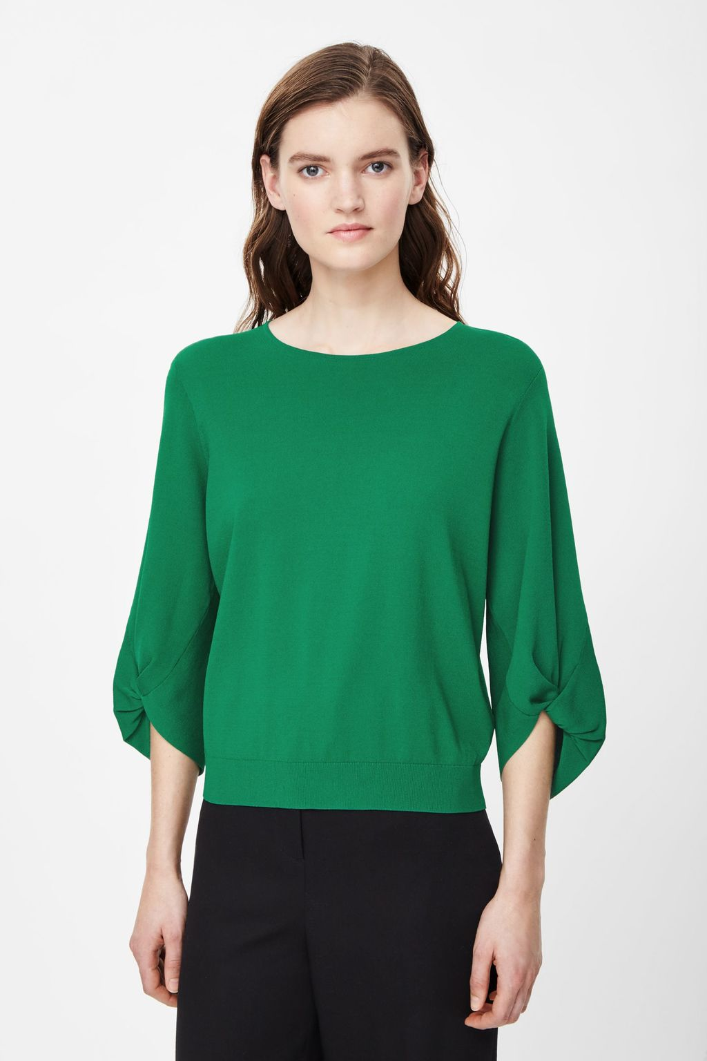 Gathered Sleeve Knit Top - neckline: round neck; pattern: plain; sleeve style: balloon; predominant colour: emerald green; occasions: casual, creative work; length: standard; style: top; fit: body skimming; sleeve length: 3/4 length; texture group: knits/crochet; pattern type: knitted - fine stitch; fibres: viscose/rayon - mix; season: s/s 2015; wardrobe: highlight