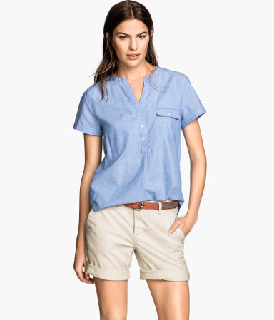 Cotton Blouse - neckline: v-neck; pattern: plain; style: blouse; predominant colour: denim; occasions: casual; length: standard; fibres: cotton - 100%; fit: straight cut; sleeve length: short sleeve; sleeve style: standard; texture group: cotton feel fabrics; pattern type: fabric; season: s/s 2015; wardrobe: highlight