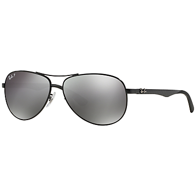 Rb8313 Polarised Carbon Fibre Pilot Sunglasses, Black - predominant colour: black; occasions: casual, holiday; style: aviator; size: standard; material: chain/metal; pattern: plain; finish: plain; season: s/s 2015; wardrobe: basic