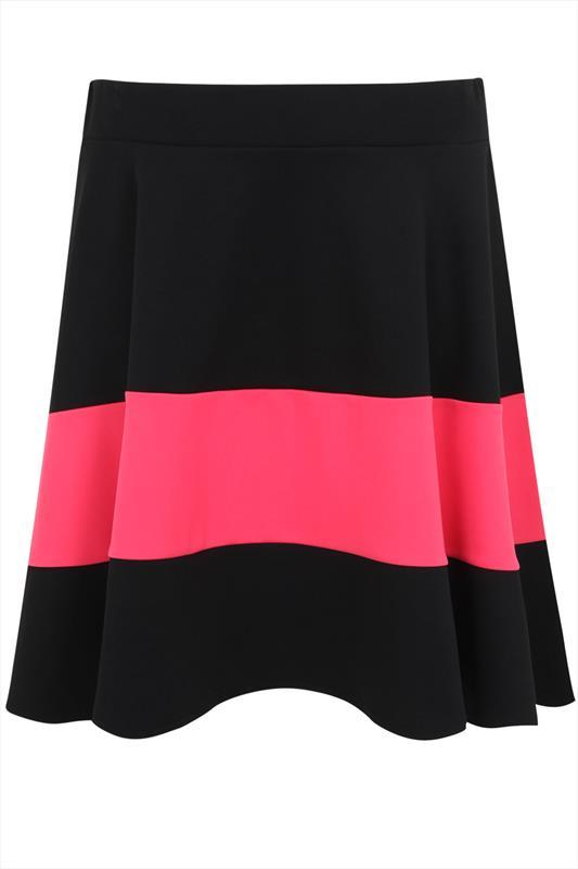 Black & Hot Pink Colour Block Wide Stripe Skater Skirt - fit: loose/voluminous; waist: mid/regular rise; secondary colour: hot pink; predominant colour: black; occasions: casual, creative work; length: just above the knee; style: fit & flare; fibres: polyester/polyamide - stretch; pattern type: fabric; texture group: jersey - stretchy/drapey; season: s/s 2015; pattern: horizontal stripes (bottom); multicoloured: multicoloured; wardrobe: highlight