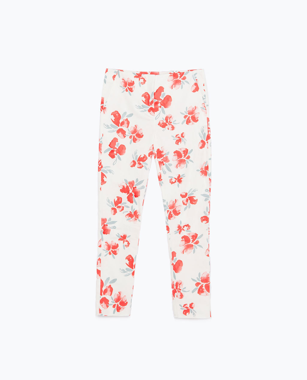 Printed Skinny Trousers - length: standard; waist: mid/regular rise; predominant colour: white; secondary colour: bright orange; occasions: casual, creative work; texture group: cotton feel fabrics; fit: slim leg; pattern type: fabric; pattern: florals; style: standard; trends: exotic blooms; season: s/s 2015; pattern size: standard (bottom); wardrobe: highlight