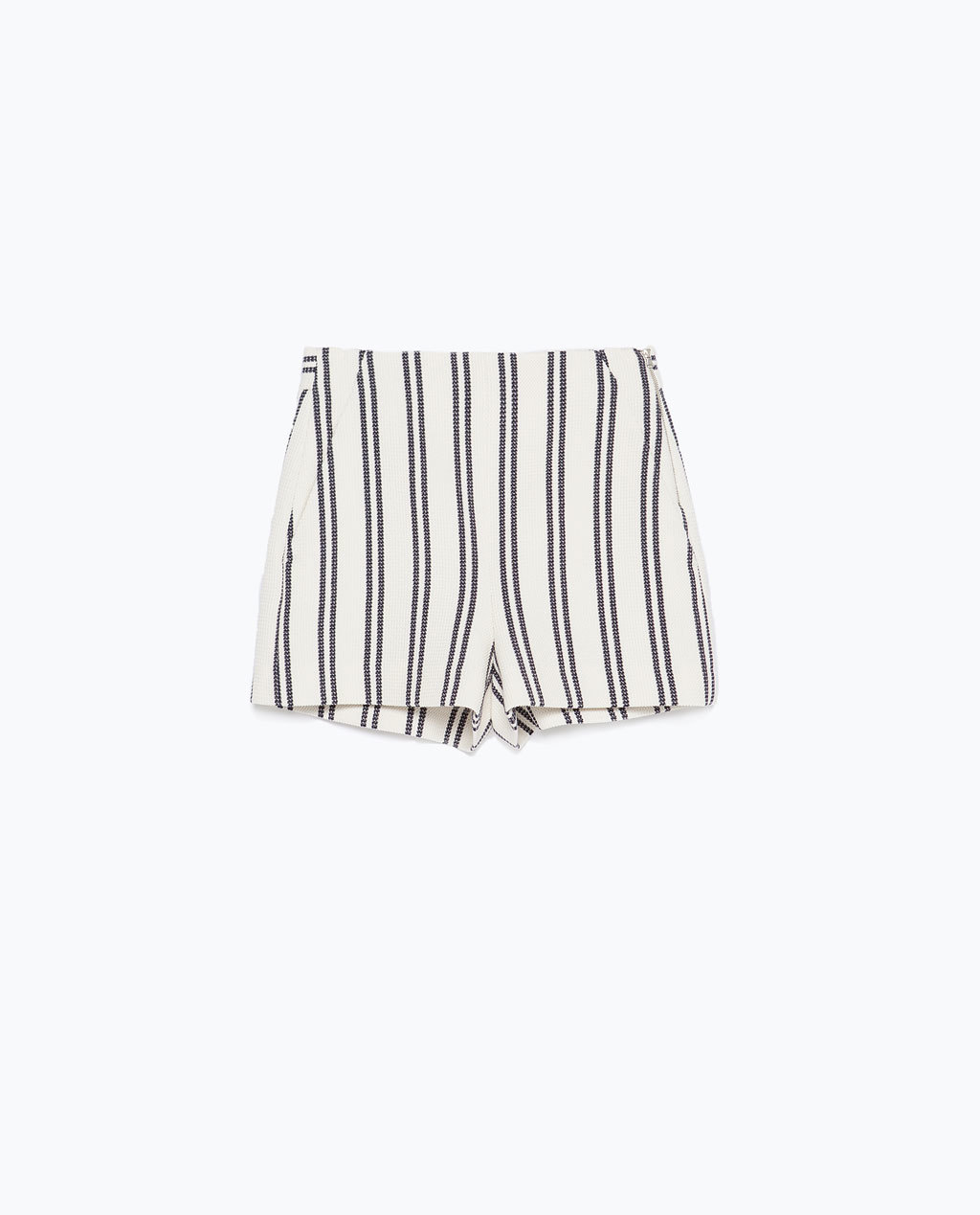 High Waisted Striped Shorts - pattern: vertical stripes; waist: mid/regular rise; predominant colour: ivory/cream; secondary colour: mid grey; occasions: casual; fibres: cotton - 100%; pattern type: fabric; texture group: other - light to midweight; season: s/s 2015; style: shorts; length: short shorts; fit: slim leg; wardrobe: highlight