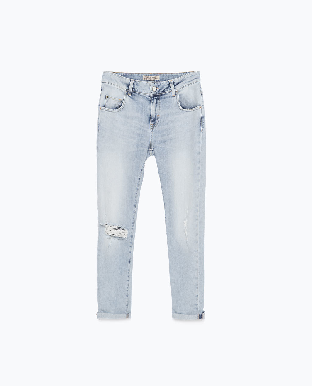 Boyfriend Jeans - style: boyfriend; pattern: plain; pocket detail: traditional 5 pocket; waist: mid/regular rise; predominant colour: denim; occasions: casual; length: ankle length; jeans detail: washed/faded, rips; texture group: denim; season: s/s 2015; wardrobe: basic