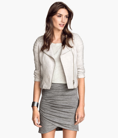 Draped Skirt - length: mid thigh; pattern: plain; fit: tight; waist detail: elasticated waist; waist: high rise; predominant colour: light grey; occasions: casual, evening; style: tube; hip detail: ruching/gathering at hip; pattern type: fabric; texture group: jersey - stretchy/drapey; season: s/s 2015