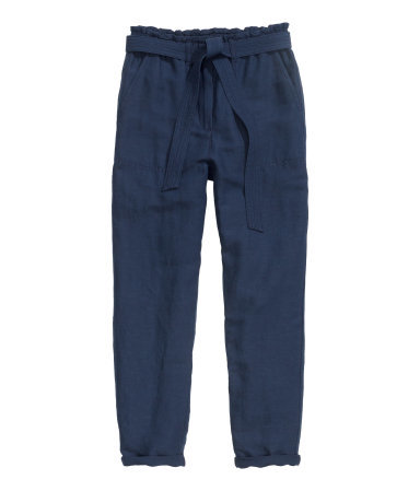 Trousers In A Linen Blend - length: standard; pattern: plain; style: peg leg; waist detail: belted waist/tie at waist/drawstring; waist: mid/regular rise; predominant colour: navy; occasions: casual, creative work; texture group: linen; fit: tapered; pattern type: fabric; season: s/s 2015; wardrobe: basic