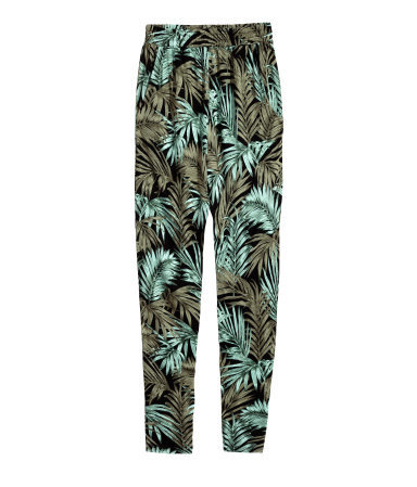 Patterned Jersey Trousers - length: standard; style: harem/slouch; waist detail: elasticated waist; waist: high rise; predominant colour: turquoise; secondary colour: taupe; occasions: casual; fibres: viscose/rayon - 100%; fit: baggy; pattern type: fabric; pattern: florals; texture group: jersey - stretchy/drapey; season: s/s 2015; pattern size: big & busy (bottom); multicoloured: multicoloured; wardrobe: highlight
