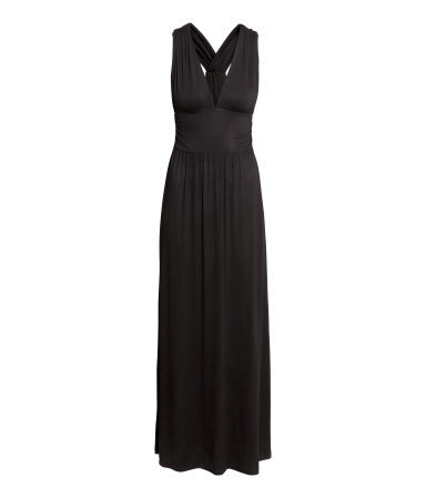 Long Jersey Dress - neckline: plunge; pattern: plain; sleeve style: sleeveless; style: maxi dress; length: ankle length; predominant colour: black; occasions: casual, evening; fit: fitted at waist & bust; hip detail: subtle/flattering hip detail; sleeve length: sleeveless; pattern type: fabric; texture group: jersey - stretchy/drapey; season: s/s 2015; wardrobe: basic
