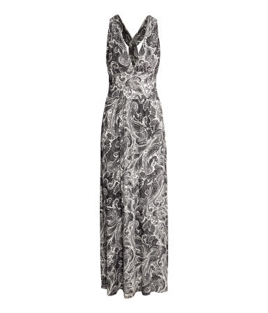 Long Jersey Dress - neckline: plunge; sleeve style: sleeveless; style: maxi dress; length: ankle length; pattern: paisley; predominant colour: mid grey; secondary colour: light grey; occasions: casual, occasion; fit: fitted at waist & bust; hip detail: soft pleats at hip/draping at hip/flared at hip; sleeve length: sleeveless; pattern size: standard; texture group: jersey - stretchy/drapey; season: s/s 2015