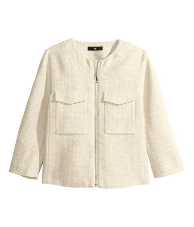 Textured Jacket - pattern: plain; collar: round collar/collarless; style: boxy; predominant colour: ivory/cream; occasions: casual, occasion, creative work; length: standard; fit: straight cut (boxy); sleeve length: 3/4 length; sleeve style: standard; collar break: high; texture group: woven light midweight; season: s/s 2015; wardrobe: basic