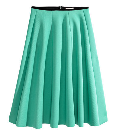 Circular Skirt - pattern: plain; style: full/prom skirt; fit: loose/voluminous; waist: mid/regular rise; predominant colour: mint green; occasions: evening; length: just above the knee; texture group: jersey - stretchy/drapey; season: s/s 2015; wardrobe: event