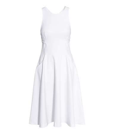 Sleeveless Dress - neckline: round neck; pattern: plain; sleeve style: sleeveless; predominant colour: white; occasions: casual, occasion; length: on the knee; fit: fitted at waist & bust; style: fit & flare; hip detail: subtle/flattering hip detail; back detail: crossover; sleeve length: sleeveless; texture group: cotton feel fabrics; pattern type: fabric; season: s/s 2015; wardrobe: basic