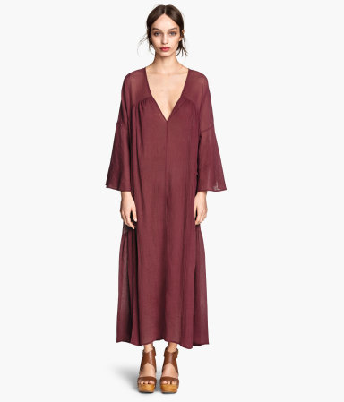 Wide Cotton Dress - style: smock; neckline: plunge; sleeve style: angel/waterfall; fit: loose; pattern: plain; length: ankle length; predominant colour: burgundy; occasions: casual; hip detail: soft pleats at hip/draping at hip/flared at hip; sleeve length: long sleeve; texture group: cotton feel fabrics; pattern type: fabric; season: s/s 2015