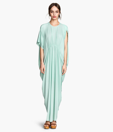 Maxi Dress In Jersey - sleeve style: angel/waterfall; fit: loose; pattern: plain; style: maxi dress; length: ankle length; bust detail: subtle bust detail; predominant colour: mint green; occasions: casual, occasion; neckline: crew; hip detail: subtle/flattering hip detail; sleeve length: short sleeve; pattern type: fabric; texture group: jersey - stretchy/drapey; season: s/s 2015; wardrobe: highlight