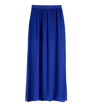 Maxi Skirt - pattern: plain; length: ankle length; fit: loose/voluminous; waist: high rise; predominant colour: royal blue; occasions: casual; style: maxi skirt; hip detail: subtle/flattering hip detail; texture group: sheer fabrics/chiffon/organza etc.; season: s/s 2015; wardrobe: highlight