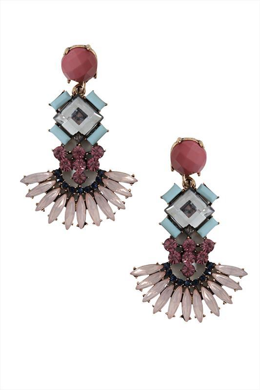 Pastel Jewelled Earrings - predominant colour: blush; occasions: evening, occasion; style: chandelier; length: mid; size: standard; material: chain/metal; fastening: pierced; finish: plain; embellishment: jewels/stone; season: s/s 2015; multicoloured: multicoloured; wardrobe: event