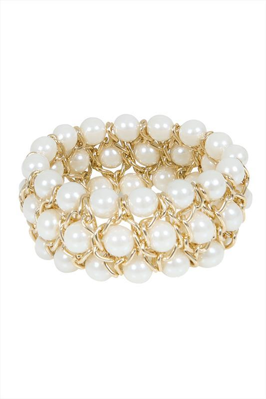 Gold & White Pearl Bead Stretch Bracelet - predominant colour: ivory/cream; secondary colour: gold; occasions: evening, occasion; style: bangle/standard; size: standard; material: plastic/rubber; finish: metallic; embellishment: pearls; season: s/s 2015