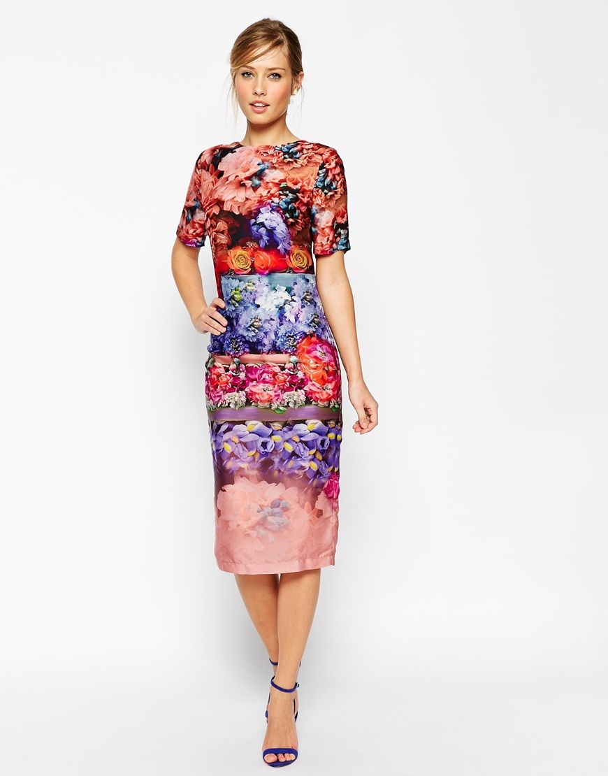 Salon Beautiful Fading Flower Midi T Shirt Dress Multi - style: t-shirt; length: calf length; predominant colour: true red; secondary colour: pale blue; occasions: evening; fit: body skimming; fibres: polyester/polyamide - 100%; neckline: crew; sleeve length: half sleeve; sleeve style: standard; pattern type: fabric; pattern size: big & busy; pattern: florals; texture group: other - light to midweight; season: s/s 2015; multicoloured: multicoloured; wardrobe: event
