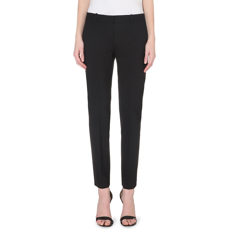 Testra Tapered Wool Blend Trousers, Women's, Black - pattern: plain; waist: mid/regular rise; predominant colour: black; occasions: evening, work, creative work; length: ankle length; fibres: wool - mix; fit: tapered; pattern type: fabric; texture group: woven light midweight; style: standard; season: s/s 2015; wardrobe: basic