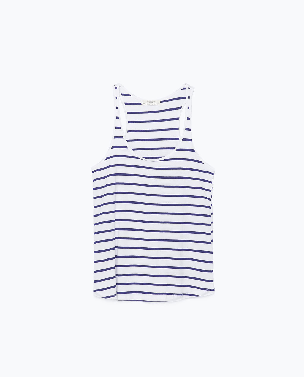 Strappy Top - sleeve style: standard vest straps/shoulder straps; pattern: horizontal stripes; waist detail: drop waist; style: vest top; predominant colour: white; secondary colour: navy; occasions: casual, holiday; length: standard; neckline: scoop; fibres: cotton - 100%; fit: loose; sleeve length: sleeveless; pattern type: fabric; pattern size: standard; texture group: jersey - stretchy/drapey; season: s/s 2015; wardrobe: basic