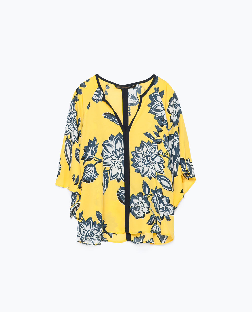 Printed Kimono Top - sleeve style: dolman/batwing; secondary colour: navy; predominant colour: yellow; occasions: casual, creative work; length: standard; style: top; fibres: polyester/polyamide - 100%; fit: loose; sleeve length: 3/4 length; neckline: low square neck; pattern type: fabric; pattern: florals; texture group: other - light to midweight; season: s/s 2015; pattern size: big & busy (top); multicoloured: multicoloured; wardrobe: highlight