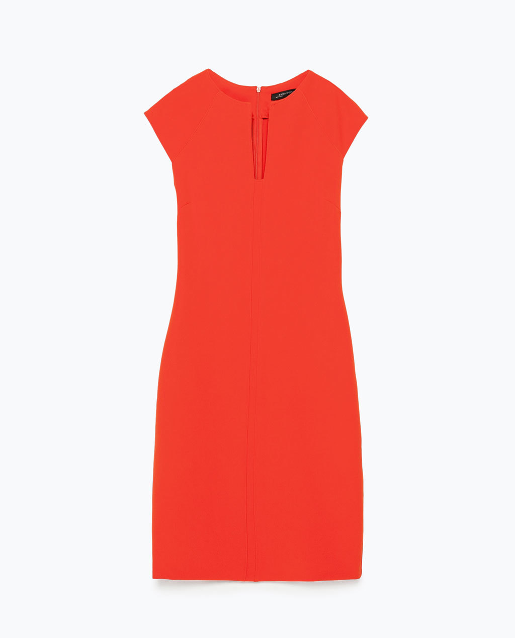 Shift Dress - style: shift; neckline: v-neck; sleeve style: capped; fit: tailored/fitted; pattern: plain; predominant colour: bright orange; length: just above the knee; fibres: polyester/polyamide - stretch; sleeve length: short sleeve; texture group: other - light to midweight; occasions: creative work; season: s/s 2015; wardrobe: highlight