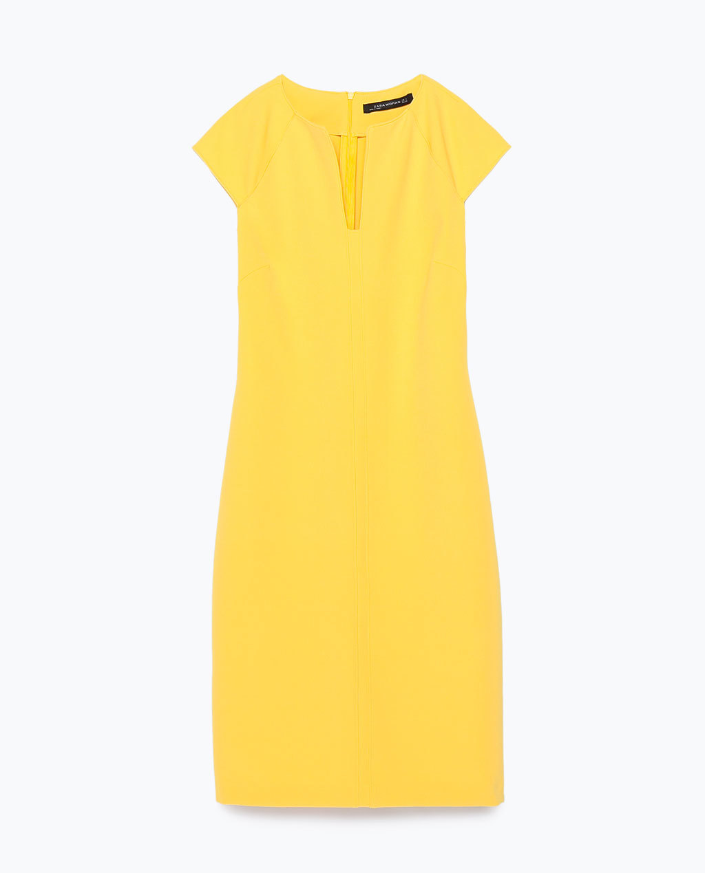 Shift Dress - style: shift; neckline: v-neck; sleeve style: capped; fit: tailored/fitted; pattern: plain; predominant colour: yellow; occasions: casual, creative work; length: just above the knee; fibres: polyester/polyamide - stretch; sleeve length: short sleeve; pattern type: fabric; texture group: other - light to midweight; season: s/s 2015; wardrobe: highlight
