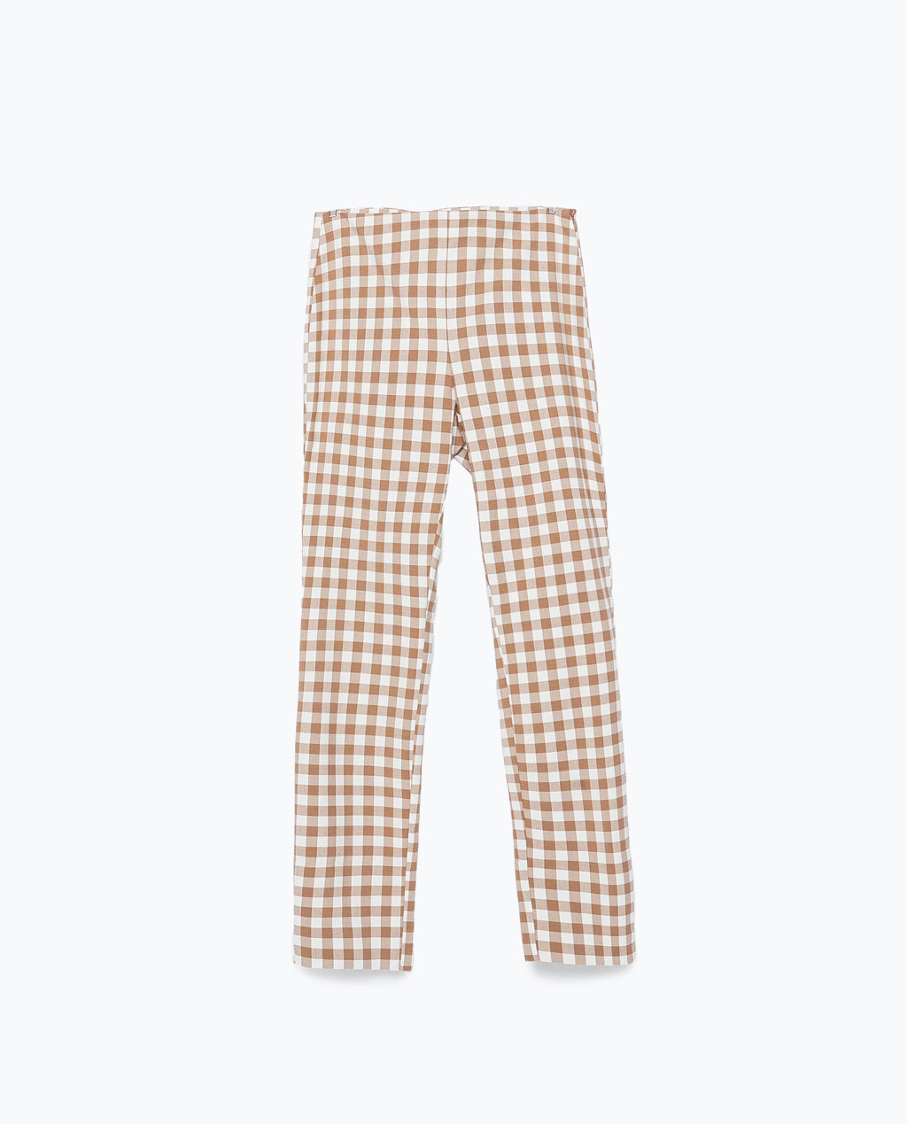 Gingham Trousers - length: standard; pattern: checked/gingham; waist: mid/regular rise; predominant colour: white; secondary colour: camel; occasions: casual, creative work; fibres: polyester/polyamide - stretch; fit: slim leg; pattern type: fabric; texture group: woven light midweight; style: standard; season: s/s 2015; pattern size: standard (bottom); wardrobe: highlight