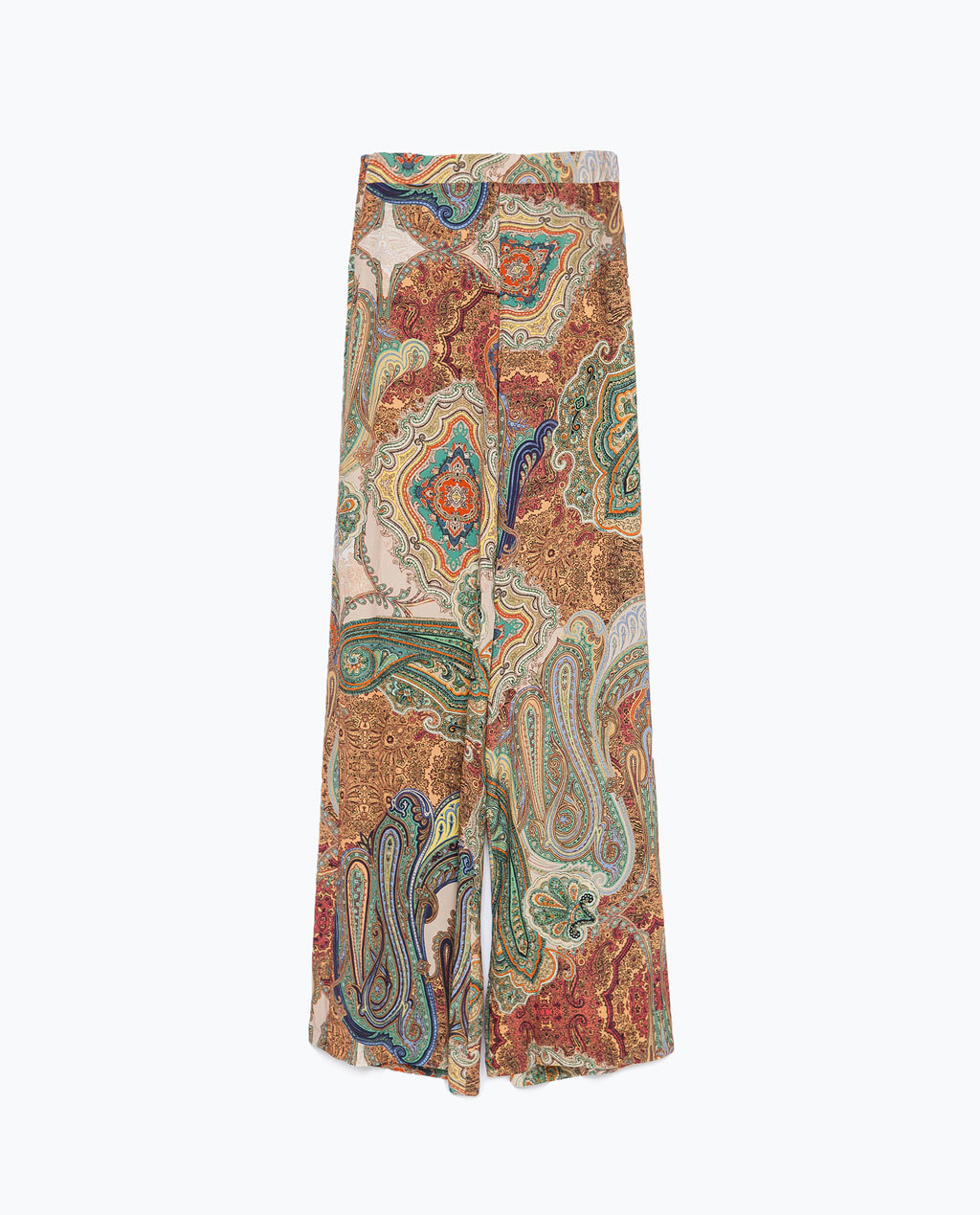 Printed Loose Fit Trousers - length: standard; style: palazzo; pattern: paisley; waist: mid/regular rise; predominant colour: mustard; secondary colour: sage; occasions: casual; fibres: viscose/rayon - 100%; waist detail: feature waist detail; fit: wide leg; pattern type: fabric; texture group: other - light to midweight; season: s/s 2015; multicoloured: multicoloured; wardrobe: highlight
