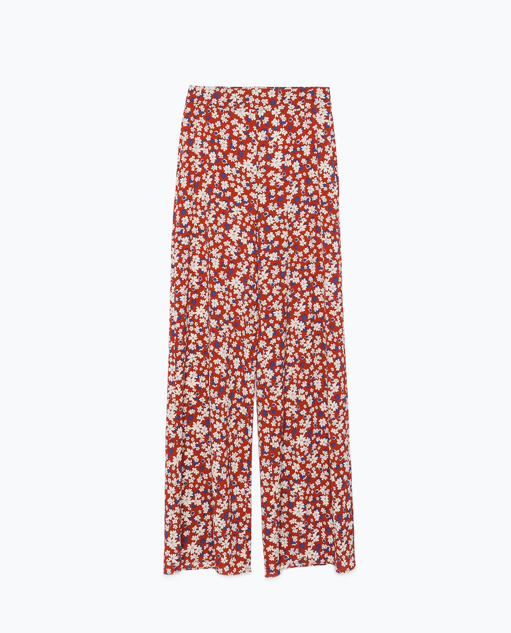 Printed Wide Leg Trousers - length: standard; style: palazzo; waist: high rise; secondary colour: ivory/cream; predominant colour: burgundy; occasions: casual, creative work; fibres: polyester/polyamide - stretch; fit: wide leg; pattern type: fabric; pattern: florals; texture group: other - light to midweight; trends: seventies retro; season: s/s 2015; pattern size: standard (bottom); multicoloured: multicoloured; wardrobe: highlight