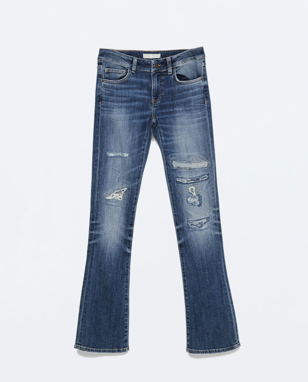 Medium Wash Bootcut Jeans - style: bootcut; length: standard; pattern: plain; pocket detail: traditional 5 pocket; waist: mid/regular rise; predominant colour: denim; occasions: casual; fibres: cotton - stretch; jeans detail: whiskering, shading down centre of thigh, rips; texture group: denim; pattern type: fabric; season: s/s 2015; wardrobe: basic