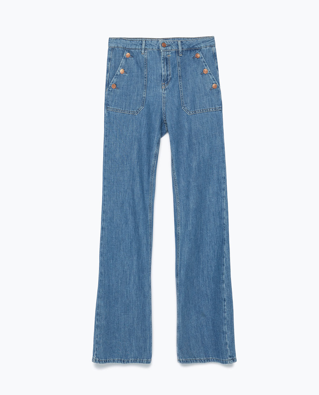 Flared Jeans - style: flares; length: standard; pattern: plain; waist: high rise; predominant colour: denim; occasions: casual; fibres: cotton - stretch; texture group: denim; pattern type: fabric; trends: seventies retro; season: s/s 2015; wardrobe: basic