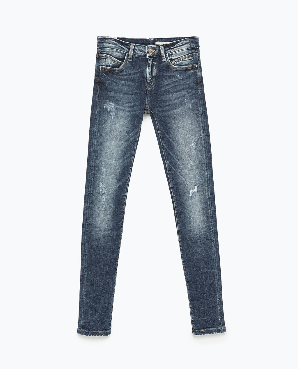 """Rebel"" Jeans - style: skinny leg; length: standard; pattern: plain; waist: low rise; predominant colour: denim; occasions: casual; fibres: cotton - stretch; jeans detail: whiskering, washed/faded; texture group: denim; pattern type: fabric; season: s/s 2015; wardrobe: basic"